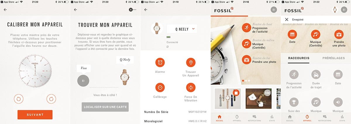 L'application mobile Q Fossil