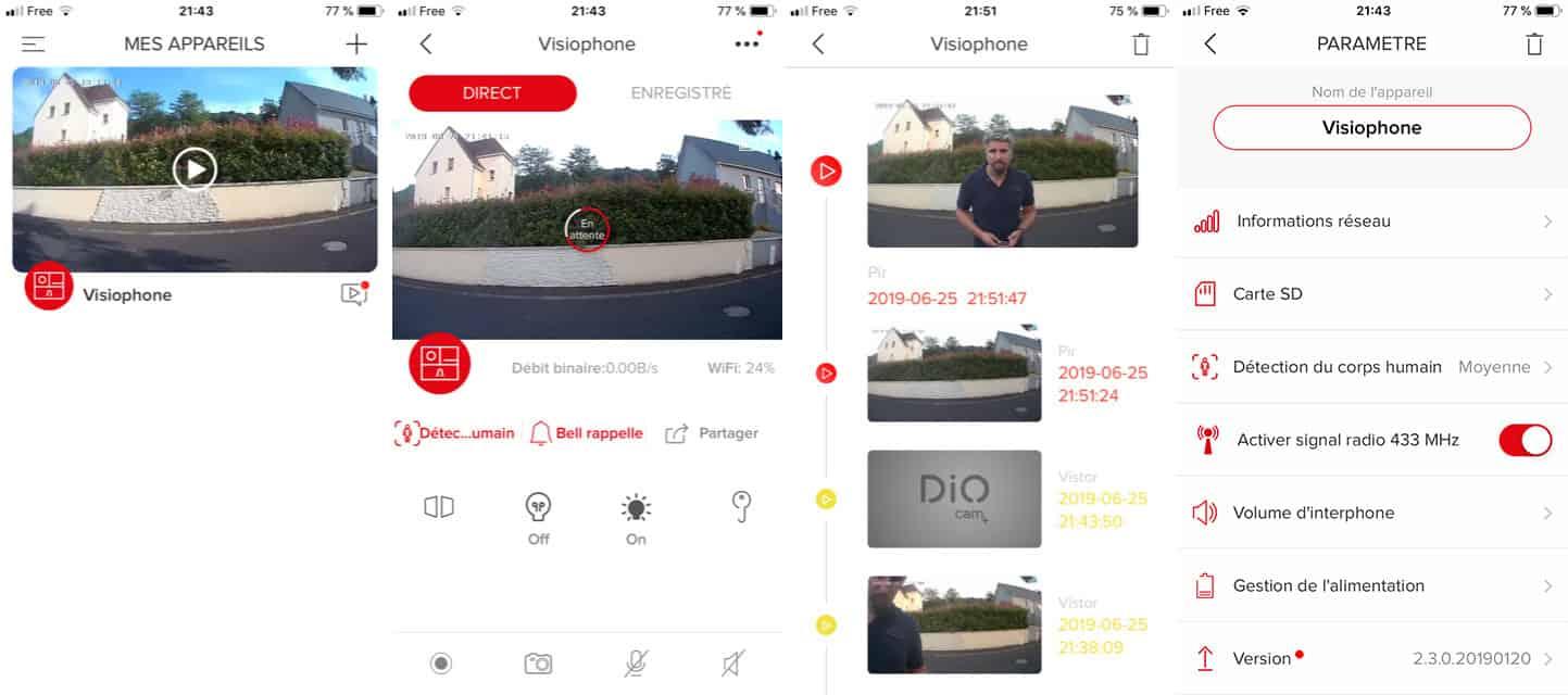 L'application mobile du visiophone DIOCAM+