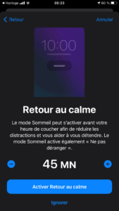Appli Apple Santé, mode retour au calme - Withings Sleep Analyzer