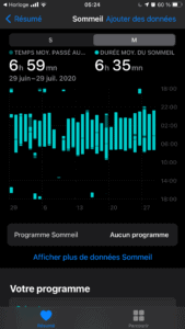 Appli Apple Santé bilan - Withings Sleep Analyzer