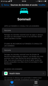 Appli Apple Santé Connexion à Health Mate - Withings Sleep Analyzer
