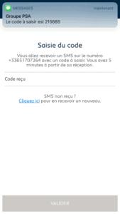My Peugeot - Saisie code