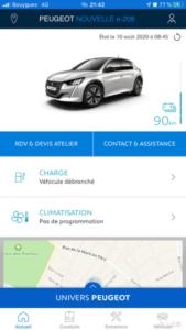 My Peugeot - écran accueil