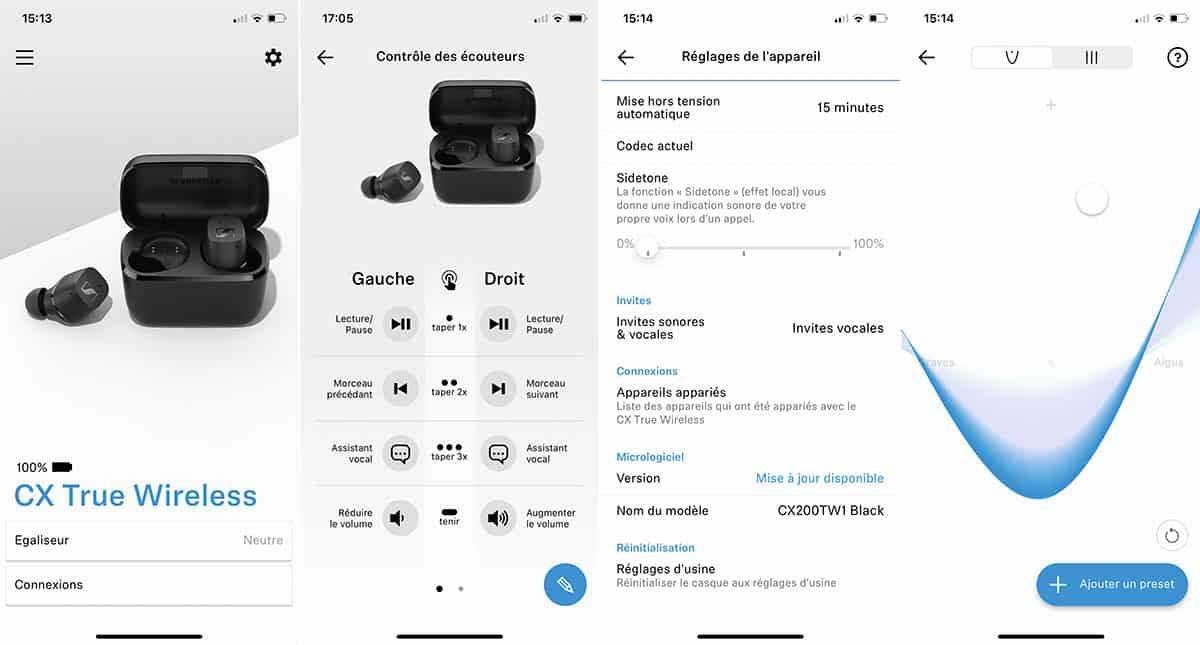 L'application mobile Smart Control dédiée aux CX True Wireless de Sennheiser